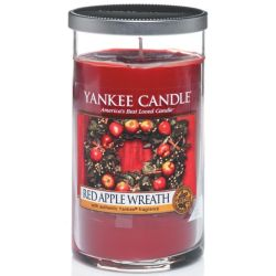 Yankee Candle Pillar Glaskerze mittel 340g Red Apple Wreath